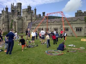 Aerial rig at Margam Abbey
