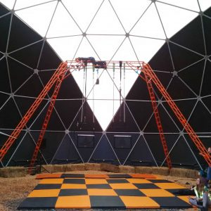 freestanding rig rigging in geodesic dome