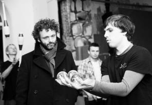 Michael Sheen with Organised Kaos crystal ball artist