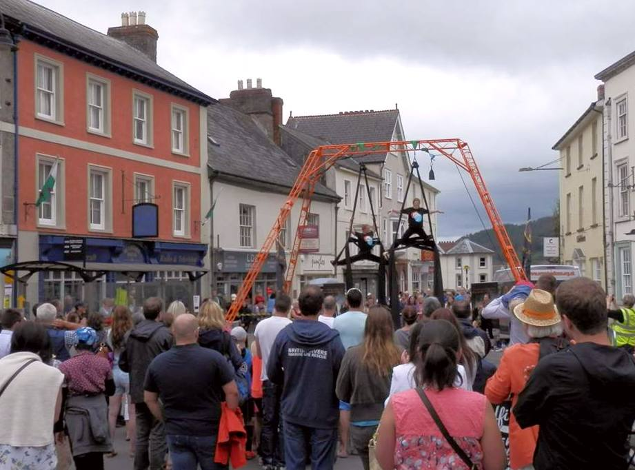 aerial rig in street Brecon Jazz Festival