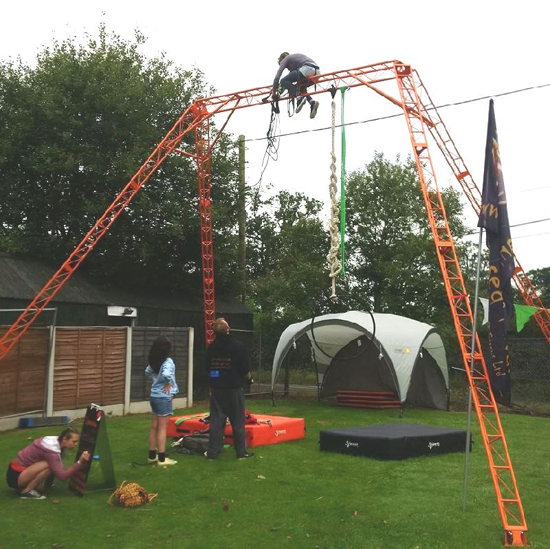 aerial rig with event shelter and rigger
