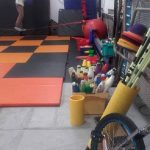 circus props and tightwire training space